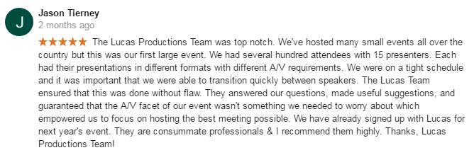 google review av services for company party